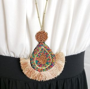 Jewelry - NWT Long Seed Bead Fan Tassel Pedant Necklace